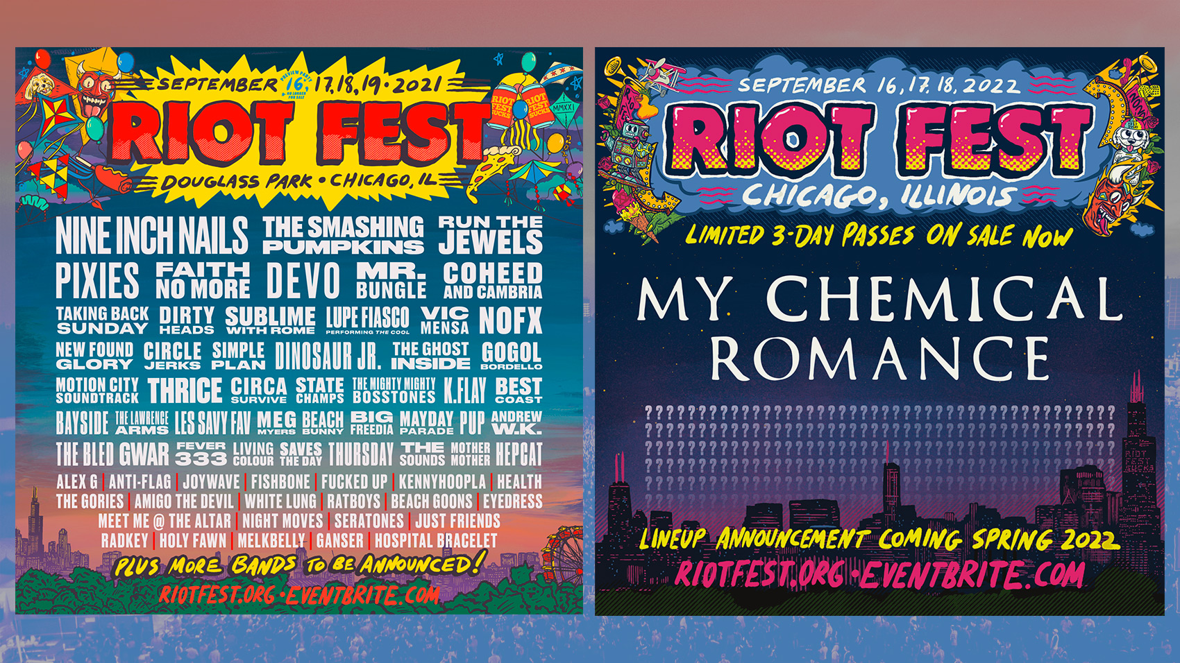 Nine Inch Nails, Smashing Pumpkins, Run The Jewels and More Will Play Riot Fest 2021 – My Chemical Romance Confirmed For 2022